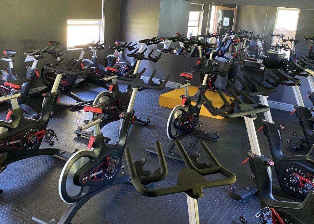 spinning class in Plettenberg Bay's gym.