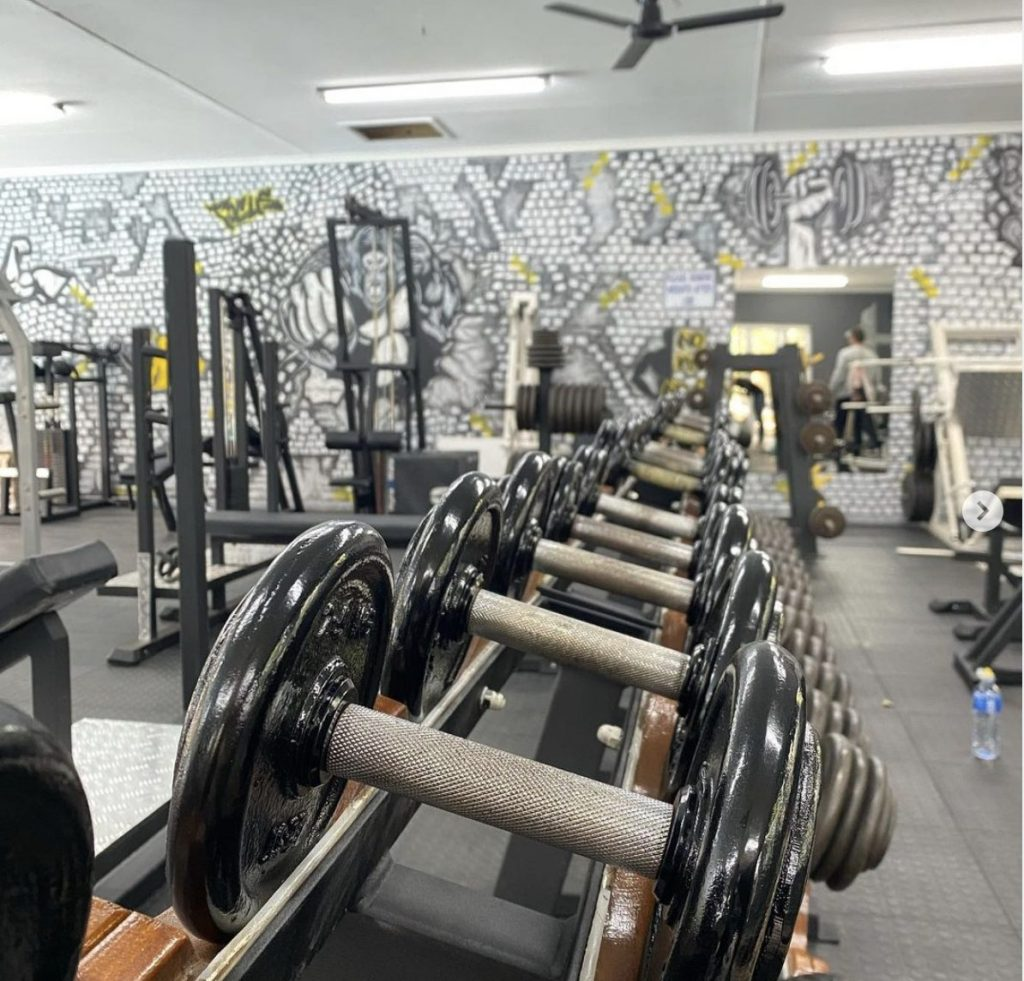 Weight rack in the plett health and fitness centre
