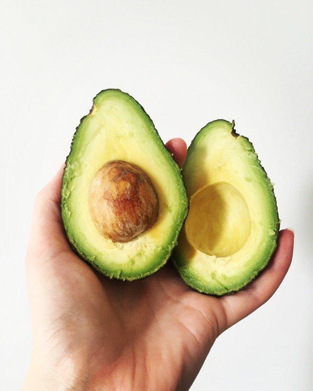 Two half avocados
